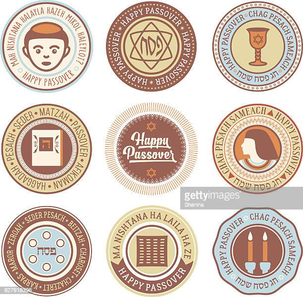 passover vector circular labels - passover stock illustrations
