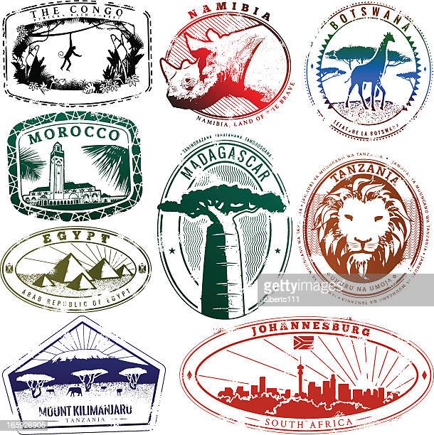 passport africa - mt kilimanjaro stock illustrations, clip art, cartoons, & icons