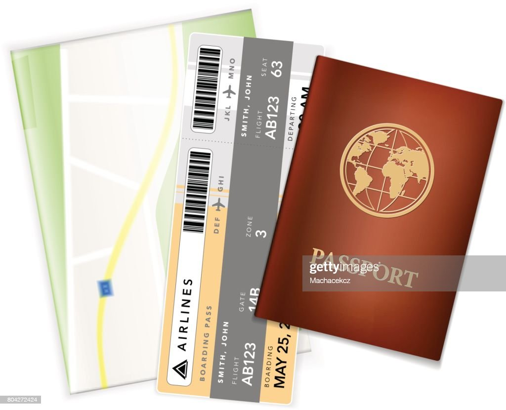 Passport, airplane ticket and map - travel accessories