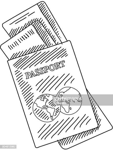 Passport and air tickets Drawing