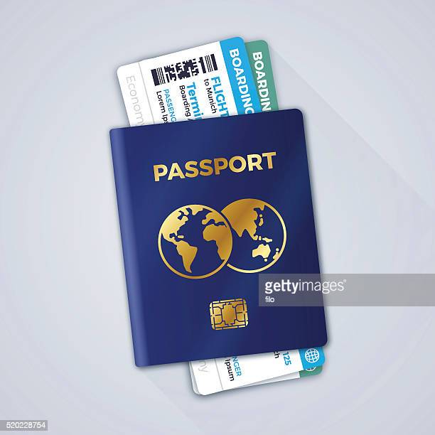 passport and airline boarding passes - boarding pass stock illustrations, clip art, cartoons, & icons