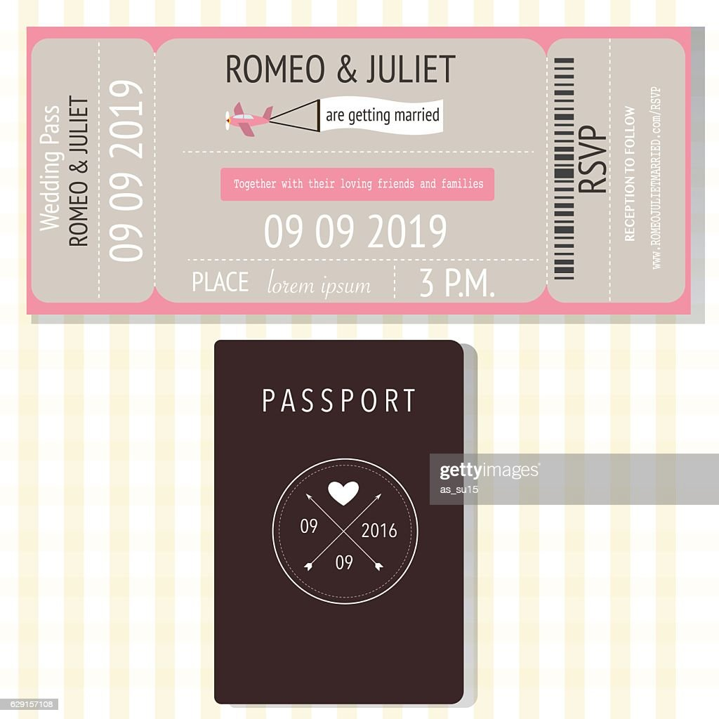 Passport and broading pass design wedding invitation cards ilu passport and broading pass design wedding invitation cards u vector art stopboris Gallery