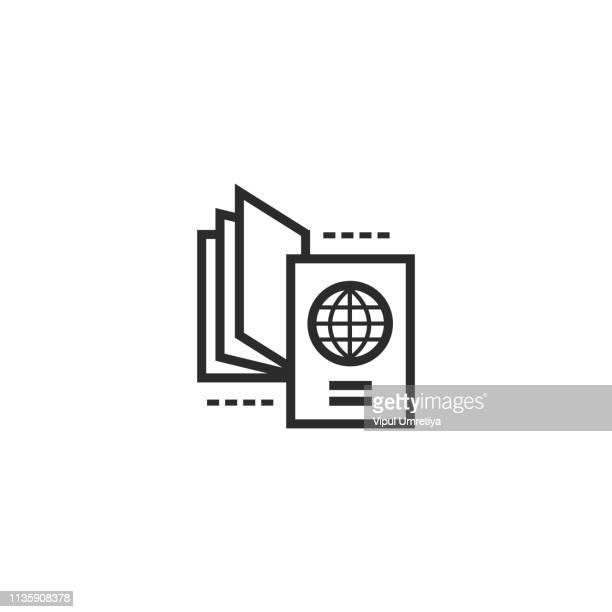 パスポートと航空券 - パスポートスタンプ点のイラスト素材/クリップアート素材/マンガ素材/アイコン素材