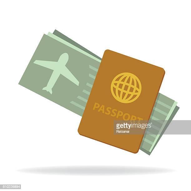passport and flight ticket - boarding pass stock illustrations, clip art, cartoons, & icons