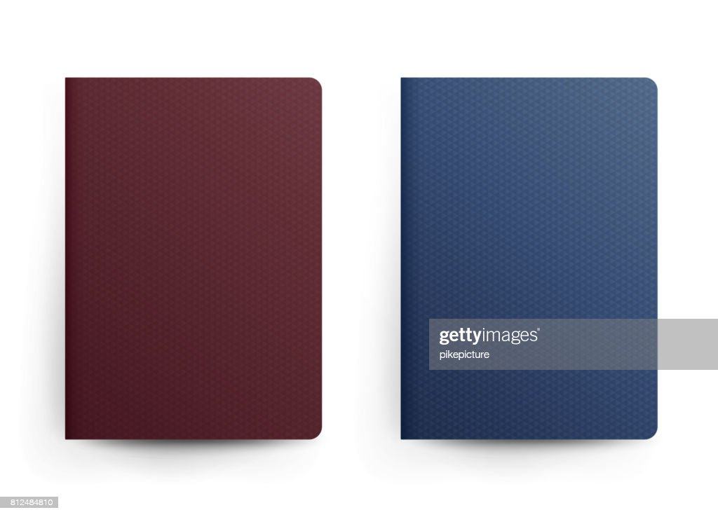 Passport Blank Vector. Front Cover. Realistic Template Illustration. Blue And Red Classic Passport. International Identification Document. Isolated
