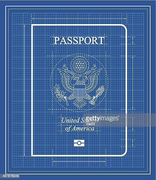 ilustrações, clipart, desenhos animados e ícones de modelo de passaporte dos eua - great seal