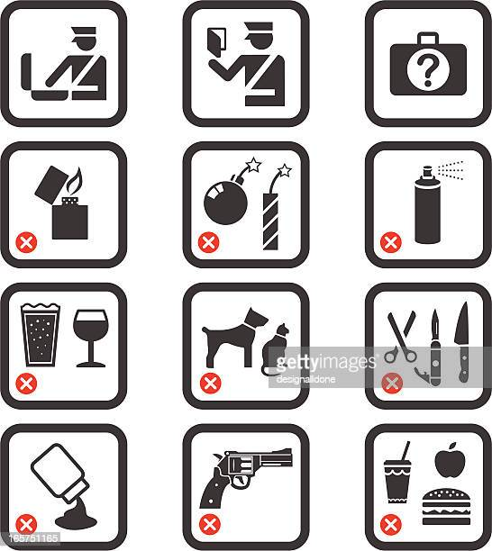 passport control and security icons - forbidden stock illustrations