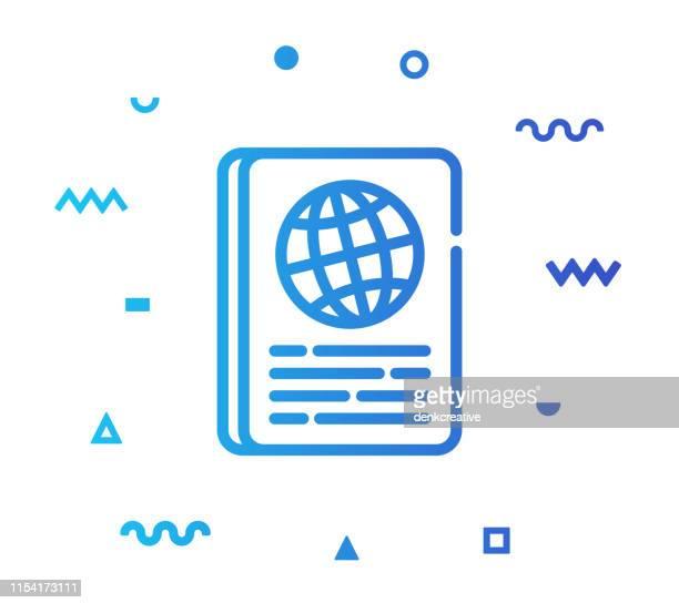 パスポートラインスタイルアイコンのデザイン - パスポートスタンプ点のイラスト素材/クリップアート素材/マンガ素材/アイコン素材