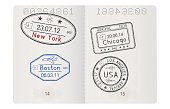 Passport pages with american cities arrival stamps