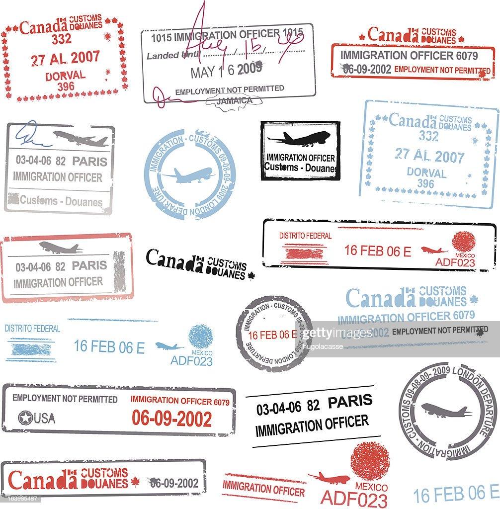 Passport stamp designs vectors