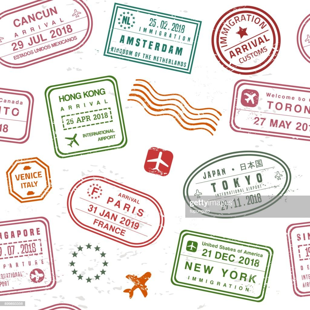 Passport stamp texture
