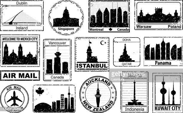 illustrazioni stock, clip art, cartoni animati e icone di tendenza di francobolli per passaporto - indonesia