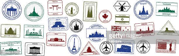 bildbanksillustrationer, clip art samt tecknat material och ikoner med passport stamps - international landmark