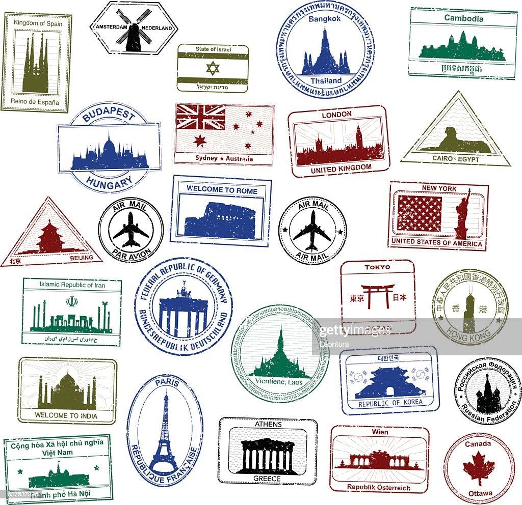Pasaporte sellos : Ilustración de stock