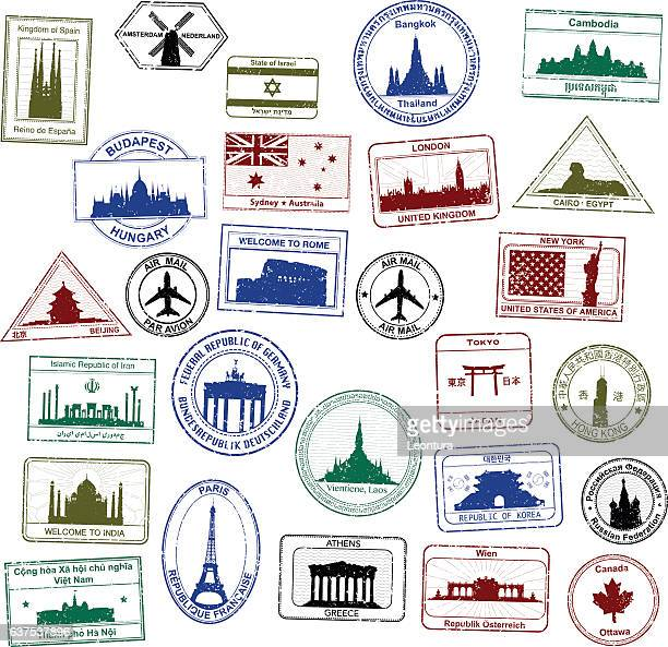 passport stamps - greece stock illustrations