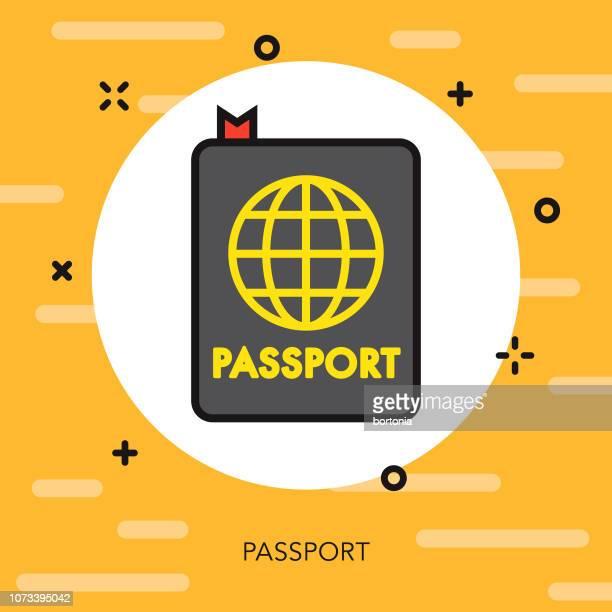 パスポート細い線休暇アイコン
