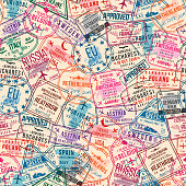 Passport visa stamps, seamless pattern. International and immigration office rubber stamps. Traveling concept