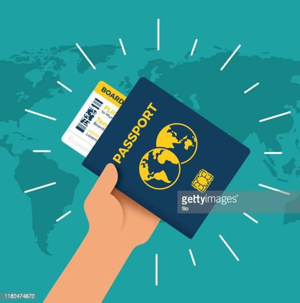 ilustrações de stock, clip art, desenhos animados e ícones de passport world traveler - cidadania