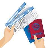 Passports and tickets to airplane in human hands vector illustration