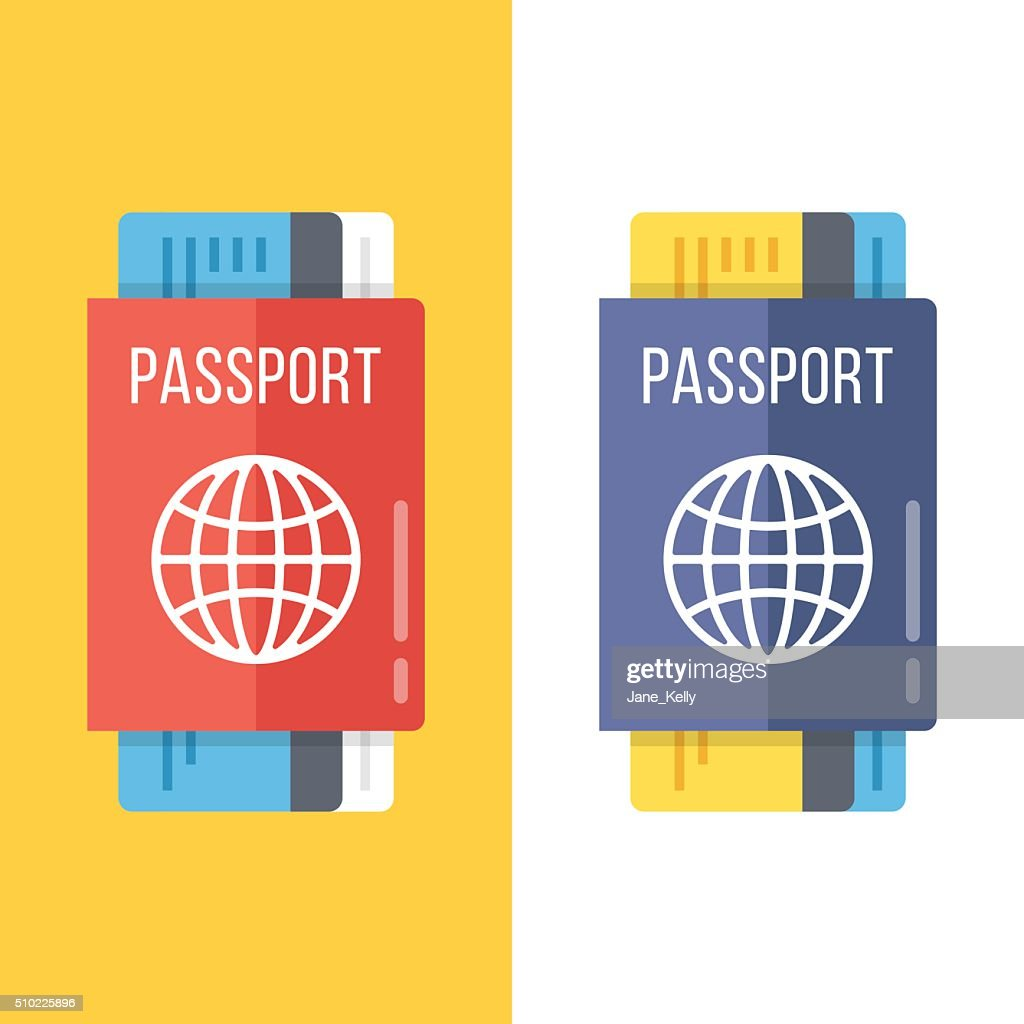 Passports set flat illustration