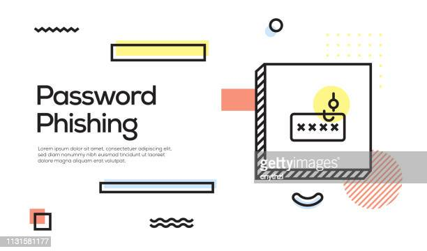 password phishing concept. geometric retro style banner and poster concept with password phishing icon - corporate theft stock illustrations