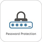 Password Protection Icon. Flat Design.