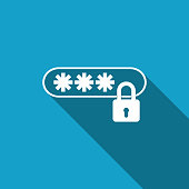 Password Protection icon isolated with long shadow. Flat design. Vector Illustration
