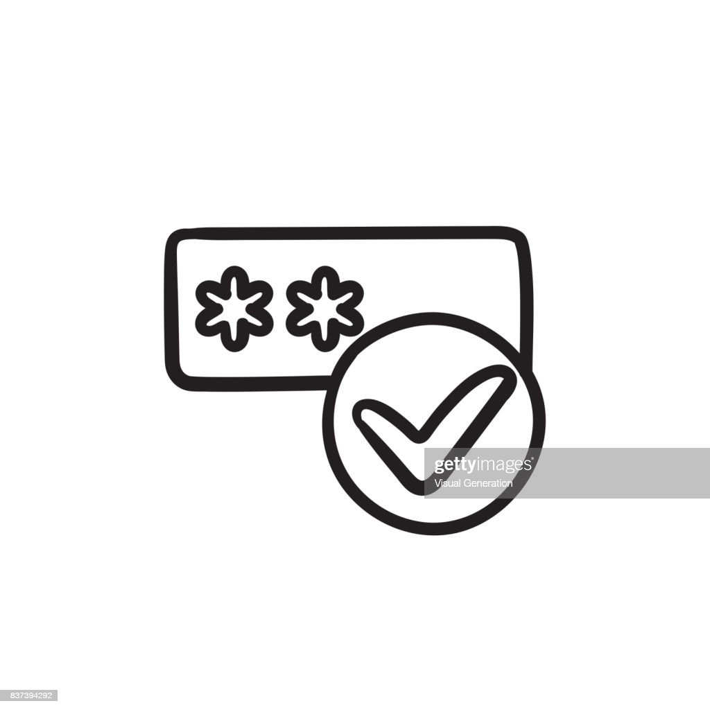 Password with check mark sketch icon