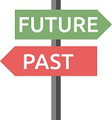 Past, future sign isolated