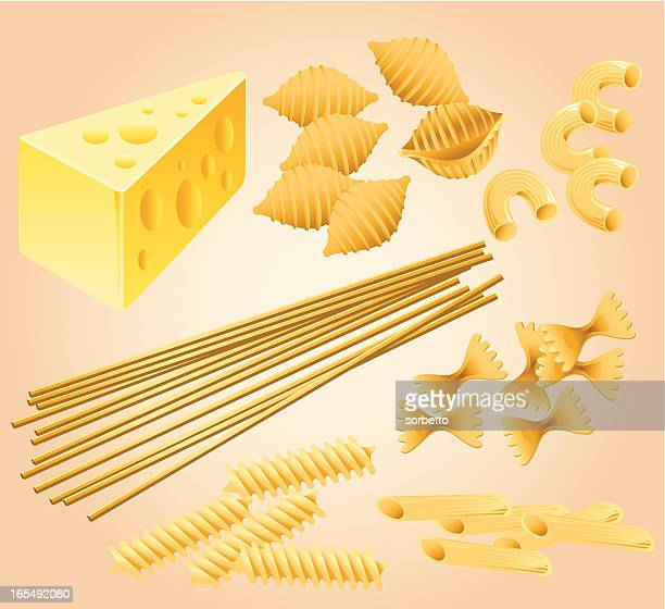 pasta and cheese collection - macaroni stock illustrations, clip art, cartoons, & icons