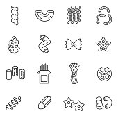 Pasta of different form icons set. Editable stroke