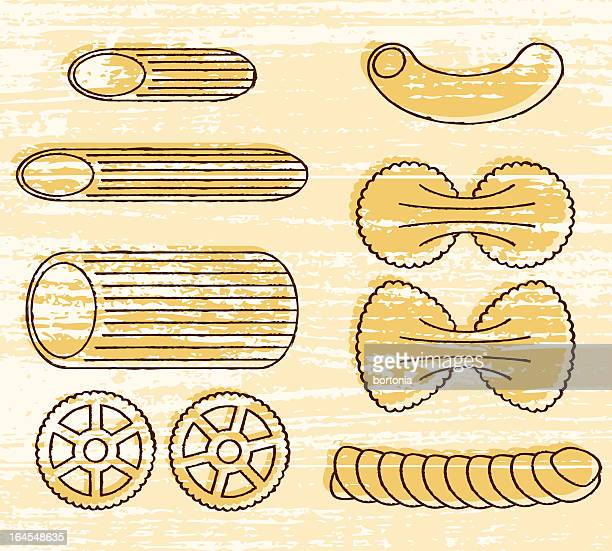 pasta shapes icon set - macaroni stock illustrations, clip art, cartoons, & icons