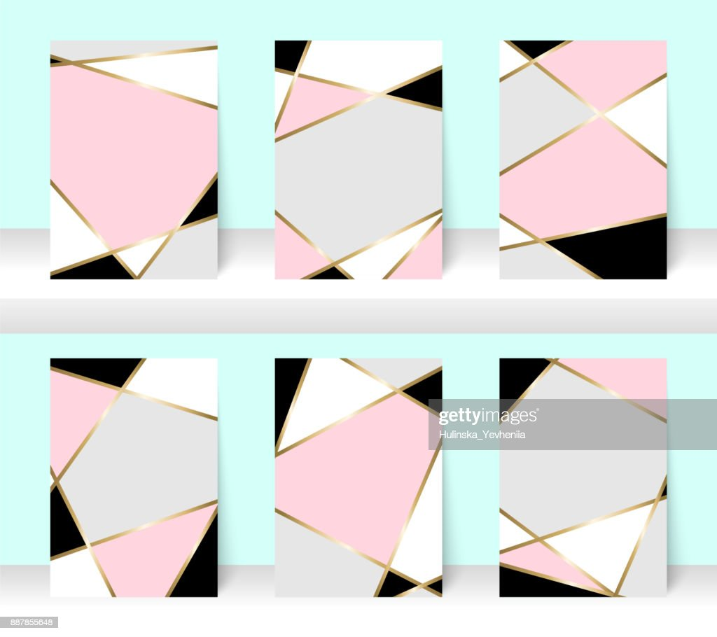 Pastel abstract pattern background with golden line, for business brochure cover design. Pink, white, grey, black and gold vector banner poster template. Scandinavian style greeting card