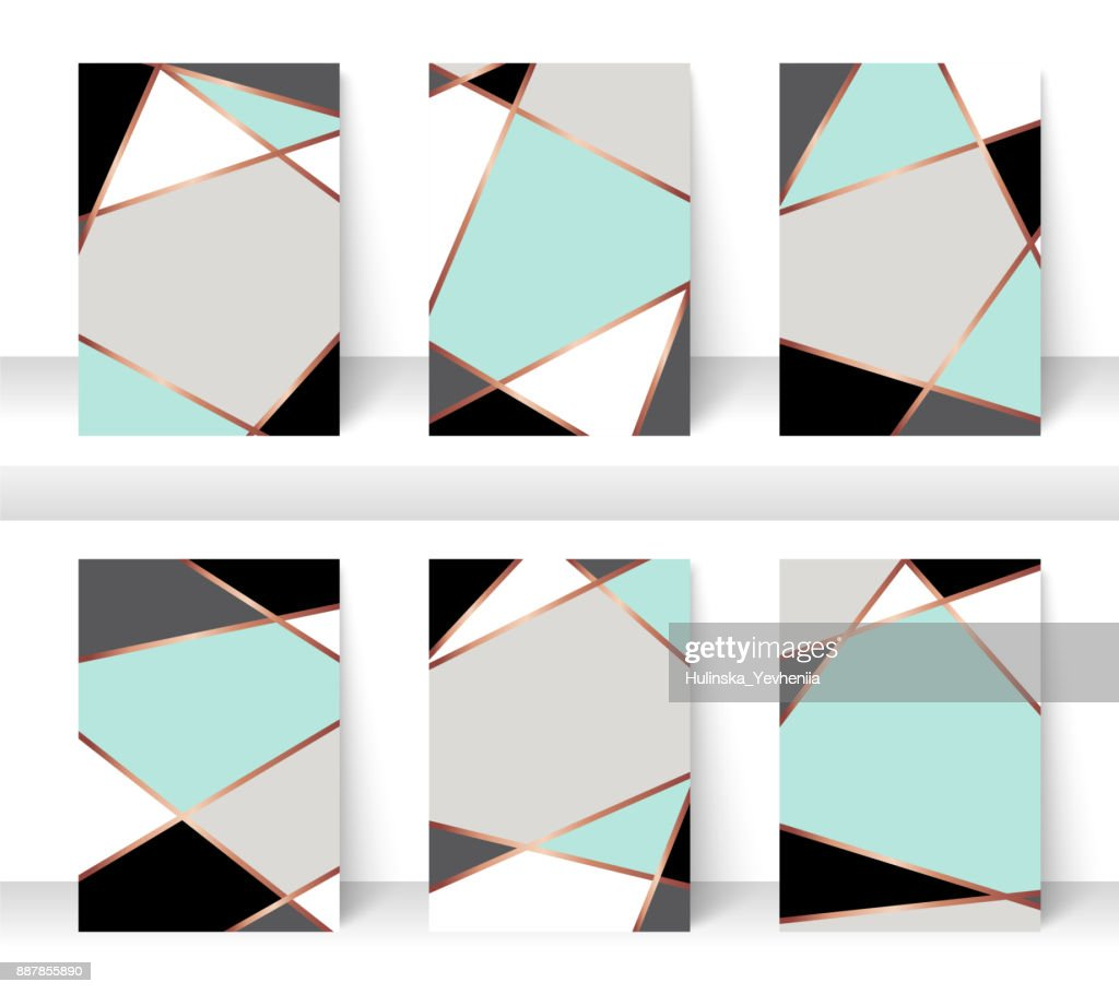 Pastel abstract pattern background with golden line, for business brochure cover design. mint, white, grey, black and gold vector banner poster template. Scandinavian style greeting card