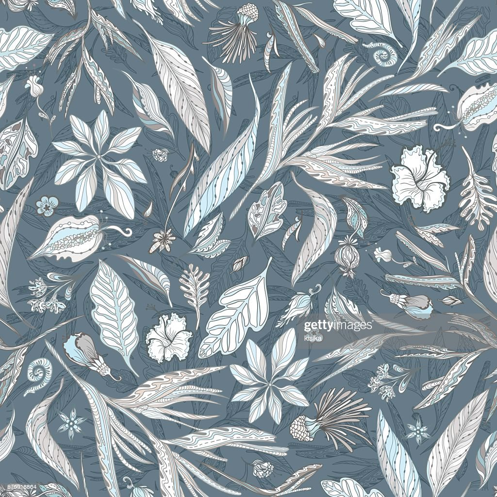 Pastel and Indigo Floral Texture