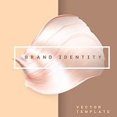 Pastel brown color metallic twisted smear. Glossy gradient futuristic shape. Shiny bent foil creative banner.