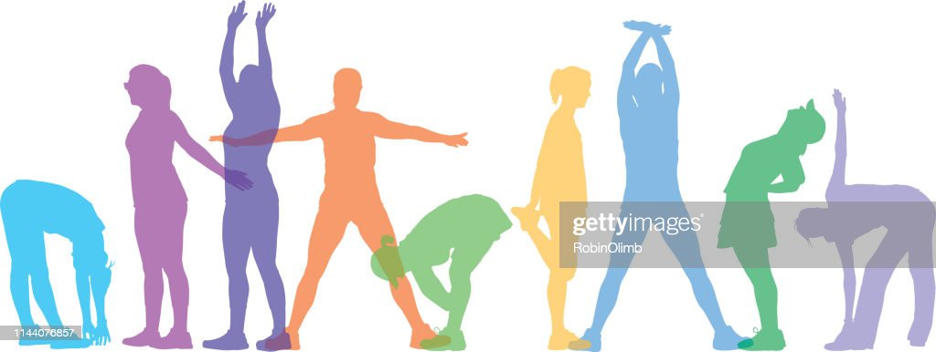 Pastel Colorful Women Stretching : stock illustration