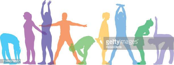 pastel colorful women stretching - touching toes stock illustrations, clip art, cartoons, & icons