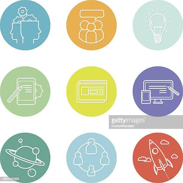 Pastel coloured SEO icons