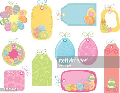 Pastel easter gift tags vector art getty images negle Images