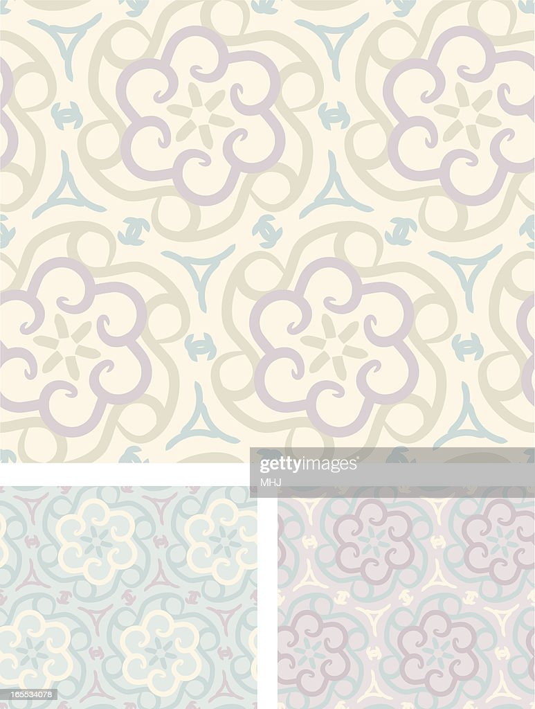 Pastel Floral Cogs Seamless Patterns High Res Vector Graphic