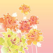 A CGI of pastel flowers on a gradient background