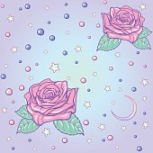 Pastel goth moon and roses seamless pattern