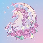 Pastel goth unicorn with crescent stars and roses greeting card