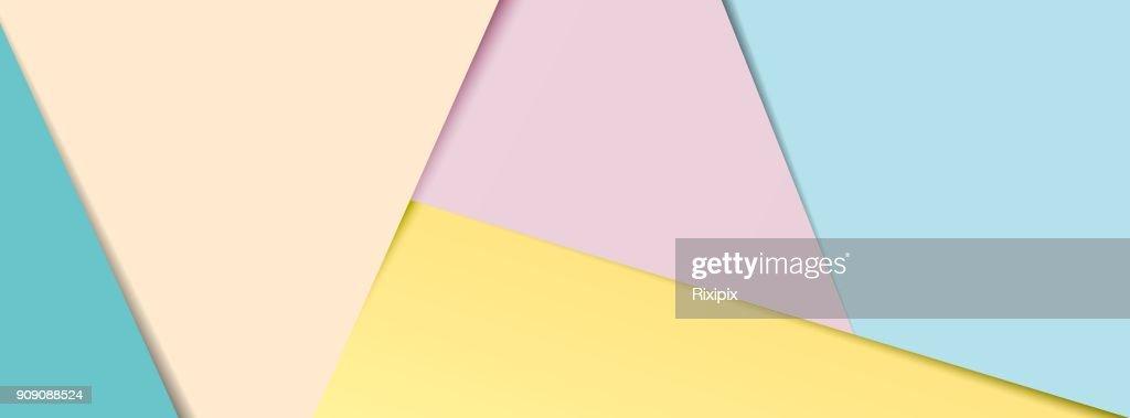 Pastel layered paper social media banner