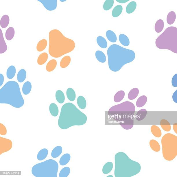 illustrations, cliparts, dessins animés et icônes de pastel paw prints seamless pattern - empreinte de pattes animales