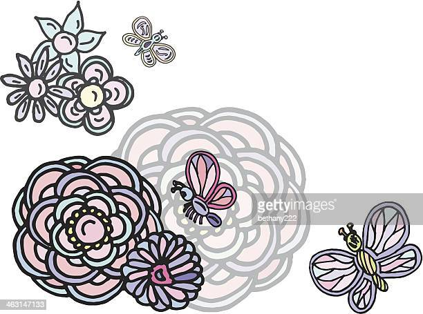 pastel pink and blue butterflies with flowers corner design element - {{relatedsearchurl('racing')}} stock illustrations, clip art, cartoons, & icons