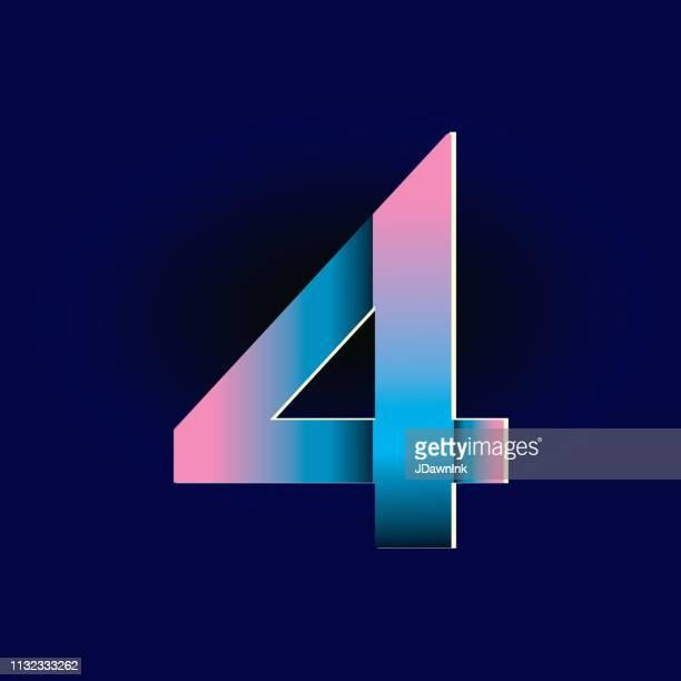 illustrazioni stock, clip art, cartoni animati e icone di tendenza di pastel pink and electric blue gradients alphabet number digit - numero 4