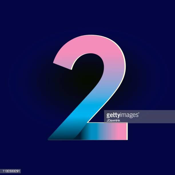 ilustrações de stock, clip art, desenhos animados e ícones de pastel pink and electric blue gradients alphabet number digit - número 2