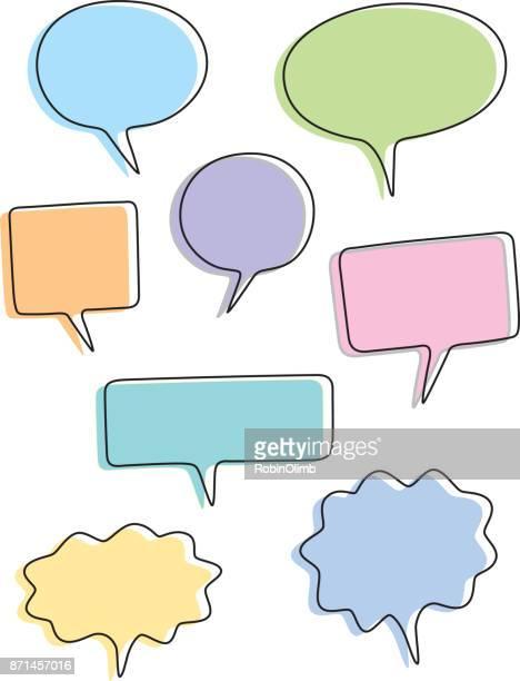 pastel speech bubbles - thought bubble stock illustrations